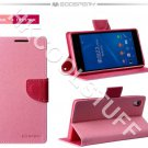 Genuine Mercury Goospery Fancy Diary Wallet Case Cover for Sony Xperia Z2 Pink+Hotpink