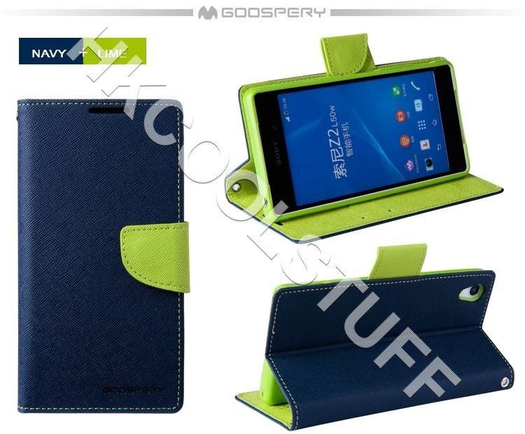 Genuine Mercury Goospery Fancy Diary Wallet Case Cover for Sony Xperia Z2 Navy+Lime