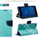 Genuine Mercury Goospery Fancy Diary Wallet Case Cover for Sony Xperia Z2 Mint+Navy