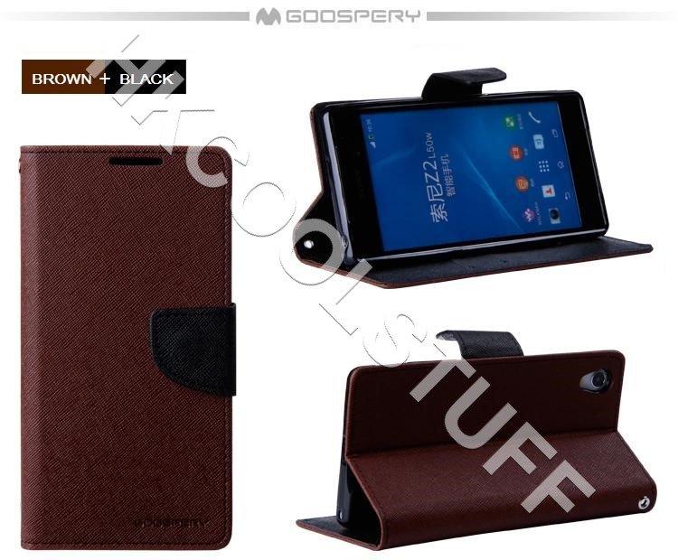 Genuine Mercury Goospery Fancy Diary Wallet Case Cover for Sony Xperia Z2 Brown+Black