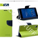 Genuine Mercury Goospery Fancy Diary Wallet Case Cover for Sony Xperia Z2 Lime+Navy