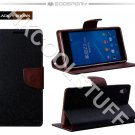 Genuine Mercury Goospery Fancy Diary Wallet Case Cover for Sony Xperia Z2 Black+Brown