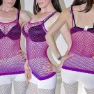 Purple Sexy FISHNET Shirt Club Wear Spaghetti Strap Stretchy Tank Top