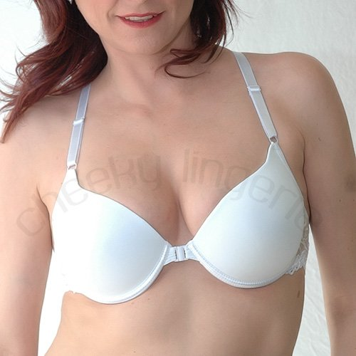 42D White PERFECT FIT RACERBACK FRONT CLOSE PLUNGE Lightly Padded BRA