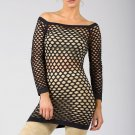 Black Sexy Fishnet Shirt Club Wear Long Sleeve GOGO Dance Top Blouse