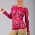 Pink Sexy Fishnet Shirt Club Wear Long Sleeve GOGO Dance Top Blouse
