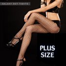 PLUS Size 140-190lbs Black Fishnet GALAXY DOT TIGHTS Hosiery