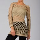 Beige Sexy Fishnet Shirt Club Wear Long Sleeve GOGO Dance Top Blouse