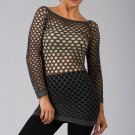Gray Sexy Fishnet Shirt Club Wear Long Sleeve GOGO Dance Top Blouse