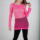 Neon Pink Sexy Fishnet Shirt Club Wear Long Sleeve GOGO Dance Top Blouse