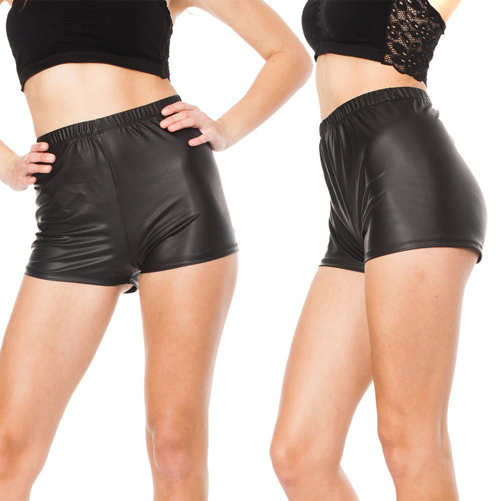 S-M Black FAUX LEATHER Trendy High Waisted Wet Look HOT Shorts Pants