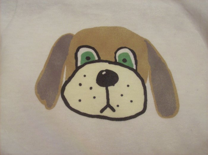 14-16, white, brown dog head