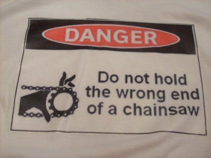 34-36, white, DANGER - chainsaws