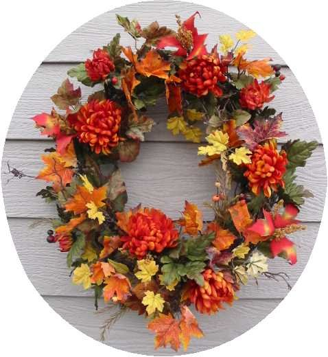 Autumn Blaze Fall floral wreath 24""