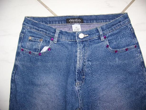 JRS/GIRLS �XHILARATION� STRETCH CAPRI BLUE JEANS W26xL18�