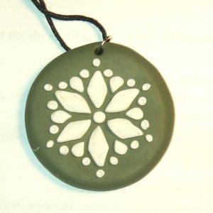 Khaki Green Snowflake Pendant