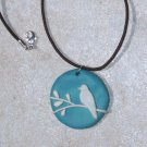 Bird Pendant White on Teal