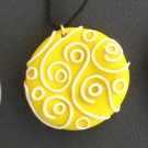 Yellow Swirls and dots Pendant