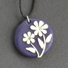 Purple and White Flower Pendant