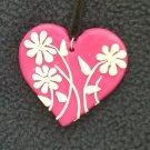 Bright Pink Daisy Heart Pendant