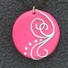 Bright Pink Pendant wth light blue detail