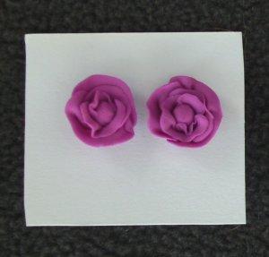 Pink Rose Post Earrings
