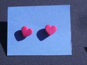 Hot Pink Heart Post Earrings