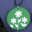 Green and White Daisy Pendant