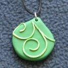 green swirled pendant