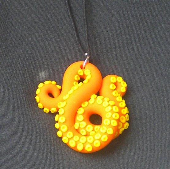 Orange/yellow octopus pendant