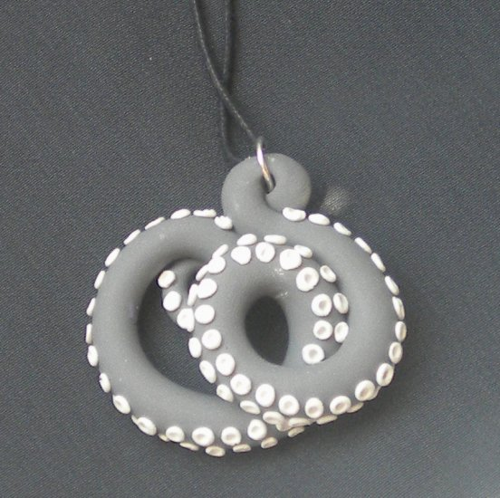 Grey/White Octopus Pendant