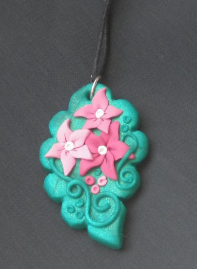 Pink Flower with leaf Pendant