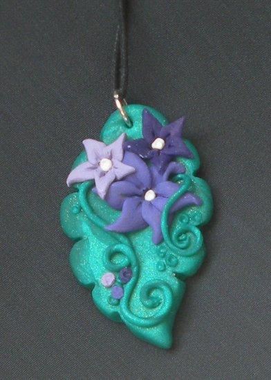 Purple Flower/ Leaf Pendant