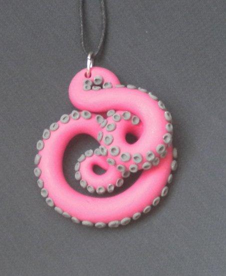 Pink/Grey Octopus Pendant