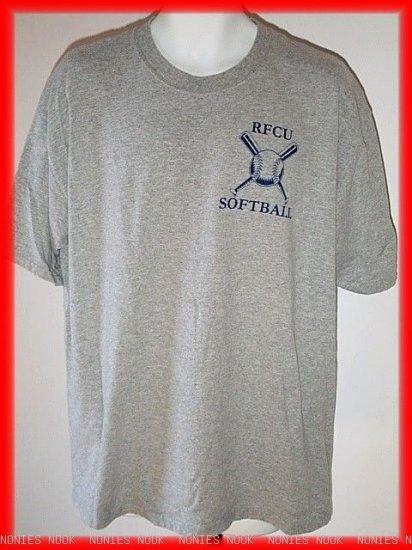 RFCU SOFTBALL T-Shirt gray REDSTONE CREDIT UNION mens or ladies size XL