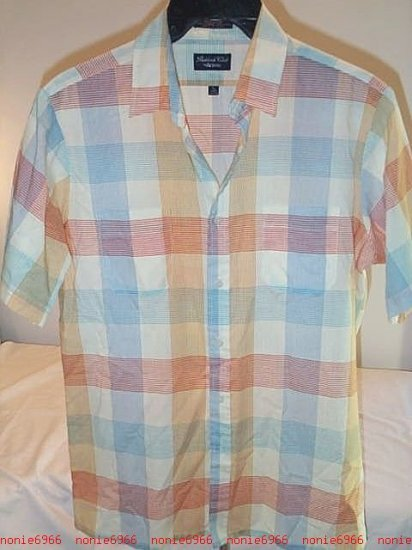 CHECKED COTTON SHIRT red blue green plaid mens L large