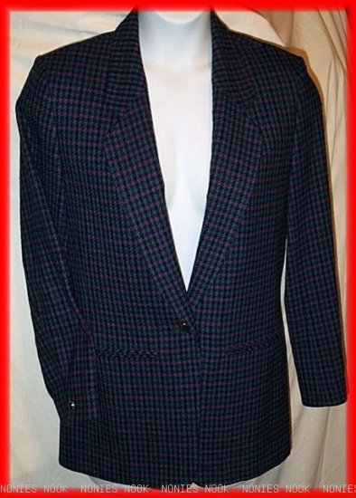 FREE SHIPPING PENDLETON Mills Blazer VIRGIN WOOL purple green houndstooth Classic plaid vintage 6