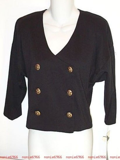 Nautical Military Style Short Fitted Blazer Top BLACK gold buttons nwt NEW size S small