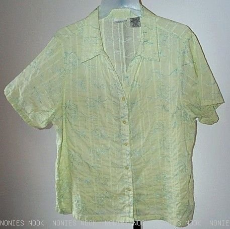 FREE SHIPPING GREEN TOP embroidered blue flowers SPRING shirt plus 22w 24w
