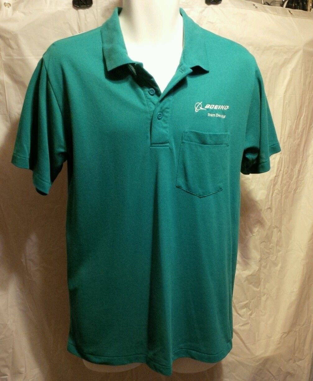 FREE SHIPPING Boeing Decatur mens polo golf shirt size small S Advent green teal embroidered
