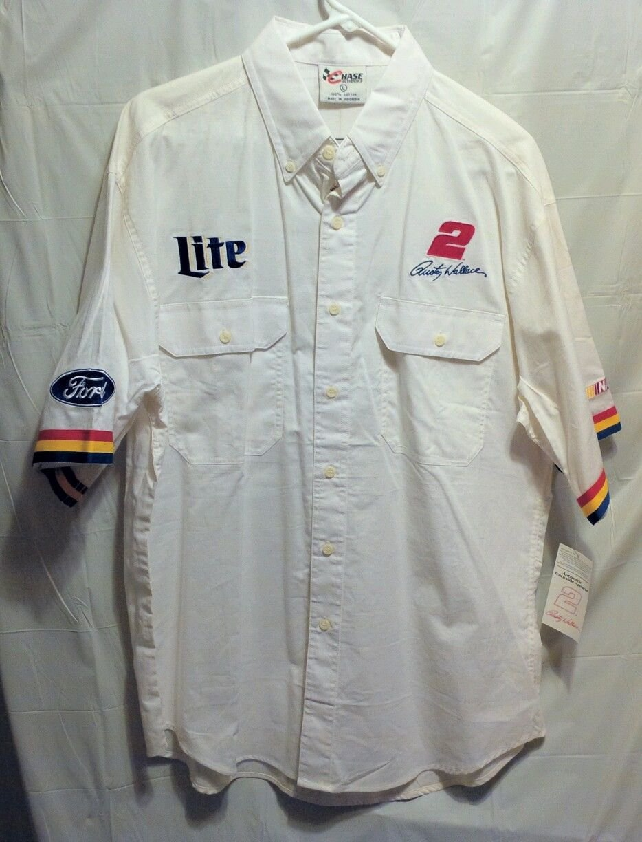 FREE SHIPPING Rusty Wallace button down SHIRT Ford Lite NASCAR white large mens L new NWT LARGE