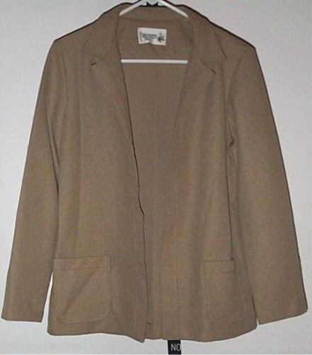 FREE SHIPPING Vintage Beige JACKET blazer CRICKET LANE square knit open front retro size 12