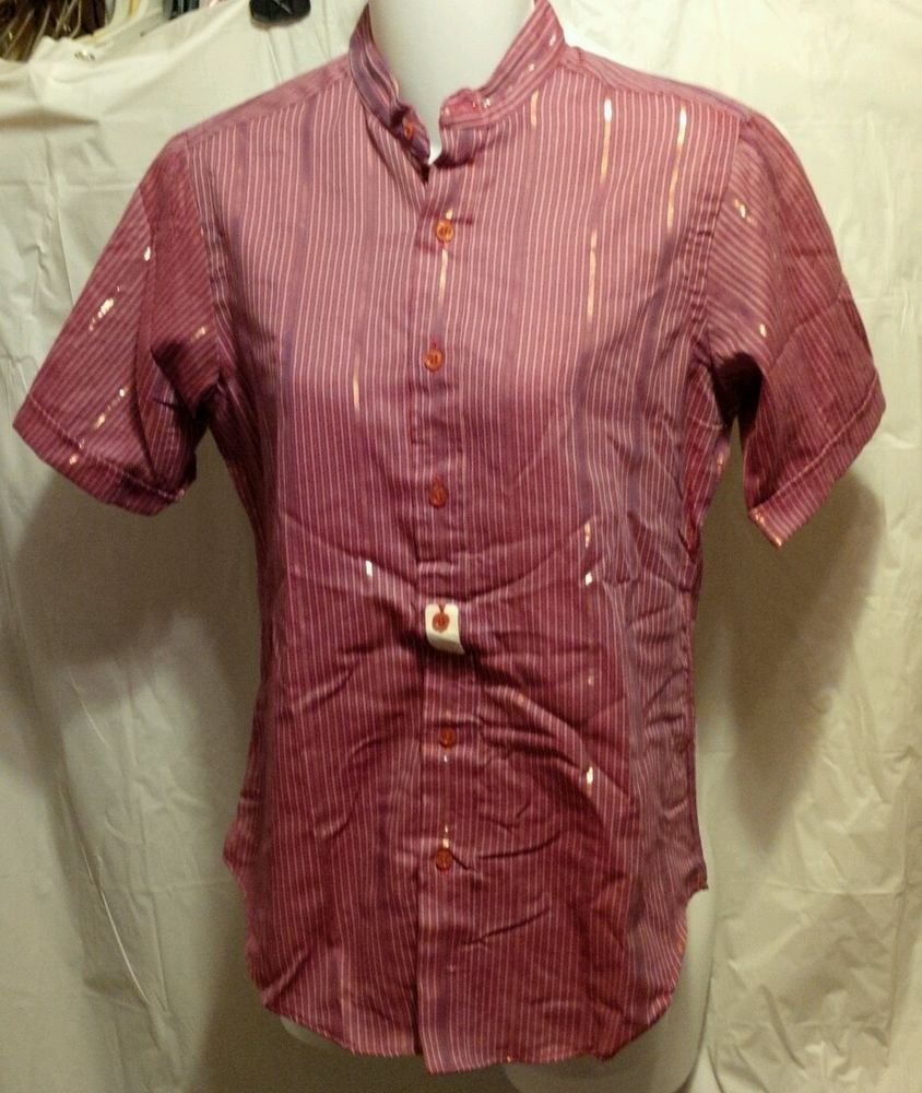 FREE SHIPPING Gold red metallic striped retro 80s Top Cotton Blend casual blouse NWT new 7/8