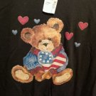 FREE SHIPPING Patriotic TEDDY BEAR T-shirt black new NWT USA flag stars stripes hearts cotton