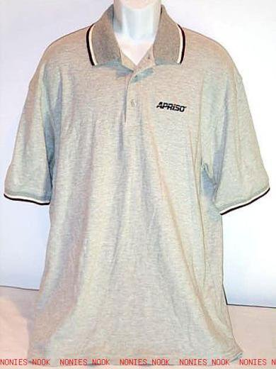 FREE SHIPPING APRISO POLO SHIRT soft cotton golf top gray burgundy EMBROIDERED LOGO mens XL