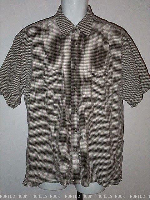 FREE SHIPPING PENDLETON SHIRT brown tan checked plaid button front cotton blend mens L large