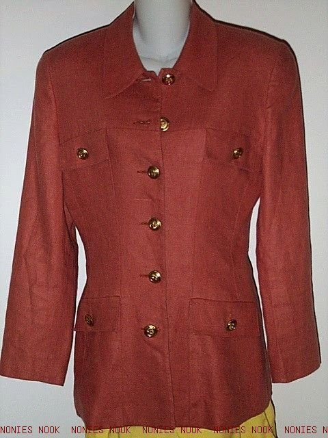 FREE SHIPPING LINEN Jacket BURNT ORANGE lined MILITARY style blazer Elliot Lauren size 6