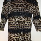 FREE SHIPPING BLACK GOLD METALLIC TUNIC SWEATER crochet chevron long Dana Scott size Large
