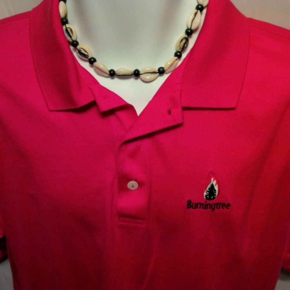 FREE SHIPPING IZOD CLUB Burningtree Golf Polo Shirt perfect pink club cotton embroidered men L