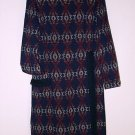FREE SHIPPING vintage BLANKET DRESS blue Indian SOUTHWESTERN tapestry western fringed size 14